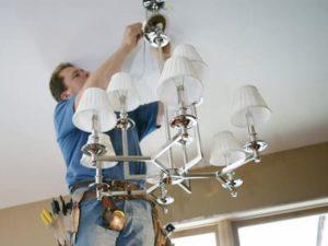 Монтаж освещения, люстр, светильников